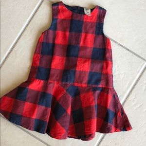 EUC Osh Kosh Plaid Jumper Dress 18mo.
